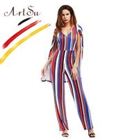 ArtSu 2018 Women Casual Rompers Cloak Long Sleeve Open
