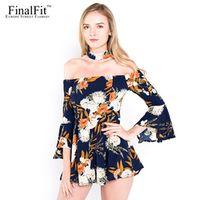 FinalFit Sexy Floral Print Off Shoulder Elegant Womens