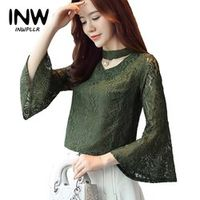 INWPLLR Autumn Green Lace Blouse Women V-neck Flare Sleeve