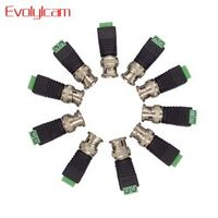 Evolylcam 10pcs Coax CAT5 to CCTV Camera BNC Male Connector, BNC Connector Plug for CCTV System Surveillance Security Camera