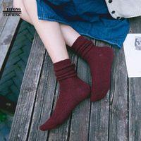 FEITONG Harajuku Happy Socks Women Girls Long Thick Warm Wool blend Socks calze invernali chausettes femme