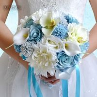 SESTHFAR 2018 Light Blue Bridal Bouquets Wedding Bouquets