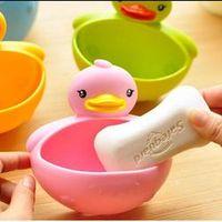 ZLinKJ u-hoMEy Cartoon Animal Duck Soap Box Soap Dish Soap Holder with Suction Robe