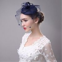 CHENLVXIE For Women Vintage Net Bridal Hats Black