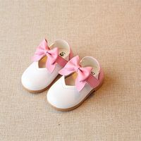 Sweet Newborn baby girls summer shoes princess for party children leather shoes bow chaussure enfant white pink red for size 4 5