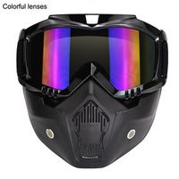 GXT Black knight Motocross Detachable Mask Double lens Anti Fog Goggles Mouth Filter