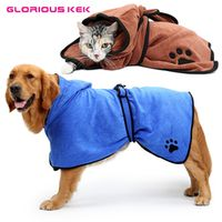 XS-XL Dog Bathrobe Super Absorbent Pet Drying Towel Quality Embroidery Paw Cat Dog Hooded Pet Bath Towel Grooming Pet Products