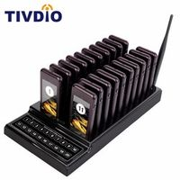 TIVDIO 20 Call Restaurant Pager Wireless Paging Queuing System Guest Call Button Rechargeable Battery Restaurant Equipment F9401
