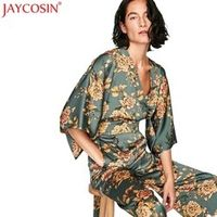 JAYCOSIN Wonderful Women Kimono Bodysuit Print Wide Leg