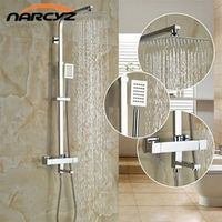 "NARCYZ Shower Faucet Set Bathroom Thermostatic Chrome Finish 8"" Shower Head"