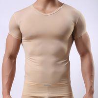 Men Sexy Ice Silk Beige Sheer Bodysuit Undershirt/Male Spandex See Through Basic T-Shirt/Seamless Polyester Tee Shirts