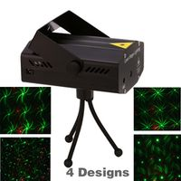 LEDSONLINE 4 in 1 Mini Projector Red Green DJ Disco Stage Xmas Party Laser Lighting