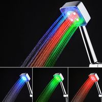 Water Power Colorful LED Shower Faucet Head Handheld Temperature Sensor Light Shower Head Home Bathroom Equipment