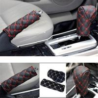 DEDC 2pcs/ Set Universal PU Leather Auto Car Hand Brake Gear Shift Stick Cover