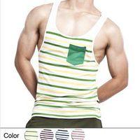 Free Shipping Fashion men's  Tank Tops Tees Undershirts Soft Cotton Striped vest 4 colors S M L XL