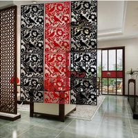 PVC Hanging Partition Wall Stickers Chinese Style 4PCS