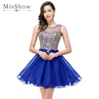2017 In Stock A Line Sheer Neck Blue Homecoming Dresses Short Mini cocktail Prom Party Dress Tutu Gold Lace Appliques Dress