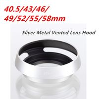 Sliver 40.5mm 43mm 46mm 52mm 58mmTilted Vented Lens Hood Shade+Lens Cap For Leica Pentax Canon Sony Nikon...