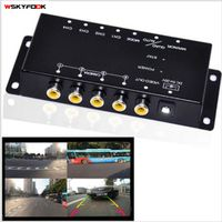 wskyfook 4-Way Composite RCA Video Splitter Distribution support car rear front side
