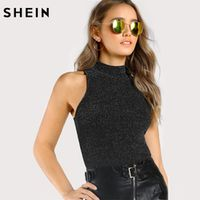 SHEIN Tank Top Mock Neck Ribbed Glitter Black for Women