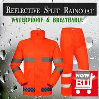 SPARDWEAR waterproof high visibility reflective safety rainsuit jacket and pant fluorescent orange split raincoat  free shipping