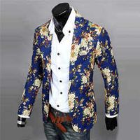 2016 Mens Jackets Suits One Button Pop Printed Floral Blazer Casual Slim Fit Long Sleeve Suit Jacket 168