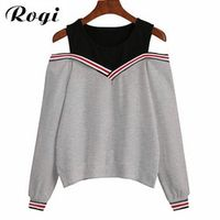 Rogi Female Jumper Sweatshirt Off Shoulder Patchwork