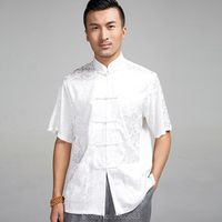 High-quality Chinese style kung fu shirt satin Short Sleeve shirts wing chun Blouse apparel summer clothing for men male