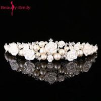 Beauty-Emily korea style ivory handmade rhinestone veil