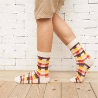 New Autumn Winter Cotton Men Socks Classic Plaid Socks Gentleman Business Style Elastic Breathable Colorful Men's Socks