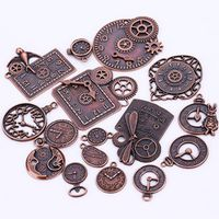 Steampunk Clock Charms for Jewelry Making Diy Vintage Metal Zinc Alloy Mixed Clock Pendant Charms Wholesale 18pcs/lot C8913