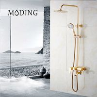 MODING Bathroom Bath Wall Mounted Hand Held Single Handle Gold Plated Shower Head Kit Shower Faucet Sets #MD8004