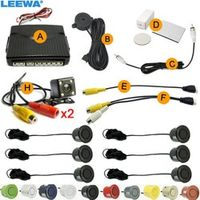 LEEWA Car 6-Sensors Parking Sensor with 2pcs CCD 4-LED Camera Dual Visual Rear View