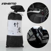 Vehemo Black Vehicle Mounted Japanese Style Activated Bamboo Charcoal Bag Air Fresher