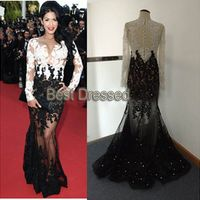 Custom Made Long Sleeves Lace White-Black Women Dress Yousef 2015 Vestidos Evening Dresses Myriam Fares Summer Celebrity Dresses
