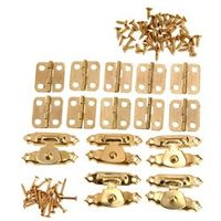5Pcs Antique Gold Jewelry Wooden Box Case Toggle Hasp Latch +10Pcs Cabinet Hinges  Iron Vintage Hardware Furniture Accessories