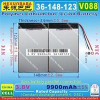 HEXUNBABA V088 3.8V 3.7V 9900mAh 36148123 NTC Polymer lithium ion /