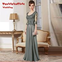 Mother Of The Bride Dresses 2017  Custom Made A Line 3/4 Sleeve Lace Beads Floor Length Gown  Long Evening Dress