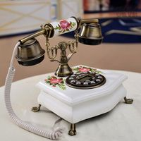 Fashion solid wood telephone household antique old telephone vintage decorative pattern for beauty