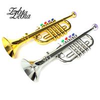 Zebra Gold Silver Developmental Plastic Children Toys Gift Musical Instrument Trumpet