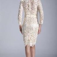 Ivory /Champagne Long Sleeves Lace Short Mother of the Bride Dress vestido de madrinha 2017