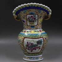 antique QingDynasty porcelain vase,pastel lion flower mouth,Hand-painted crafts,Decoration,collection &Adornment,Free shipping