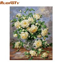 RUOPOTY Europe Flower Abstract Diy Painting By Numbers Kits Acrylic Paint Vintage Hand Painted Oil Painting Home Decoration
