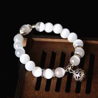 JETTING White Cat Eye Beads Magnet with Lucky Pendant Therapy Bracelet Anklet