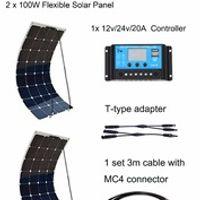 Boguang 200W System 2pcs 100W efficient PV flexible 12V solar panel 20A controller