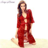 2016 Sheer Transparent Lace Kimono Dressing Intimate