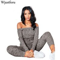 Wjustforu Sexy Off Shoulder Women Long Sleeve Casual