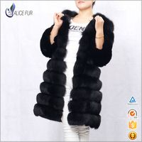 Factory supply High Quality Luxury natural Fox  fur Coat Long fur jacket For Women