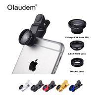 OLAUDEM Universal 3 In 1 Mobile Phone Macro Fish Eye Lens Wide Angel Camera Lenses