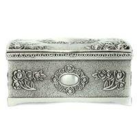 Vintage Black Silver Jewelry Necklace Bracelet Box Storage Organizer Holder Case